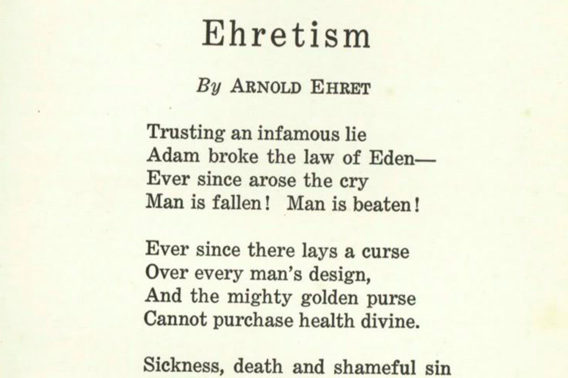 Poema de Arnold Ehret publicado en 1922