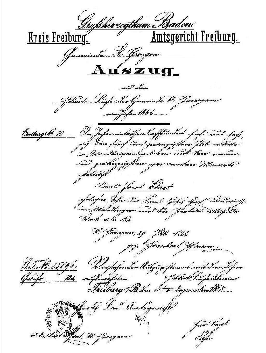Certificado de nacimiento de Arnold Ehret